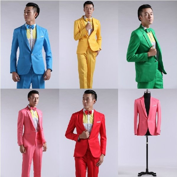 Wholesale-The studio show hosted Party Party Men's suit pink yellow blue green dress stage singing contest singer clothing costume