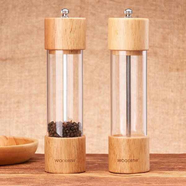 20pcs Wooden Black Pepper Mill Manual Pepper Mill Kitchen Seasoning Bottles Multi-purpose Bottle Kitchen Tools ZA5361
