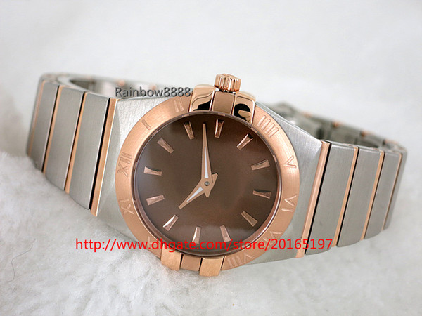 Famous brand Classic couple watches quartz movement brown dial 316 steel butterfly clasp wristwatch OV61