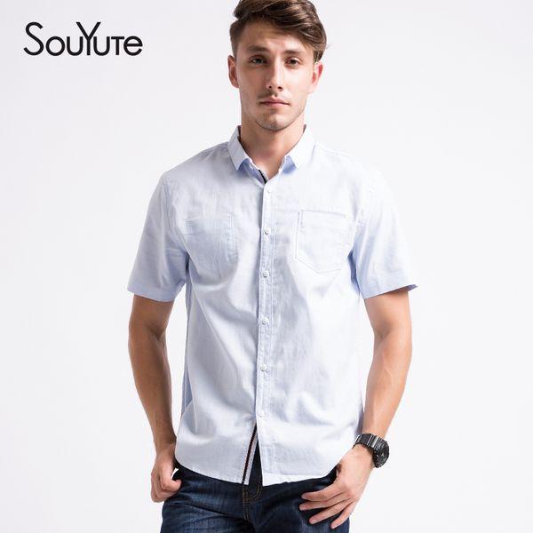 wholesale-souyute 2016 new men's short sleeved cotton shirt single pocket design shirt men's classic casual business style 6002