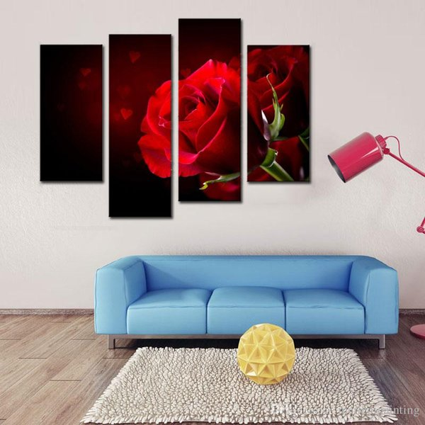 4pcs Modern Black Background with Red Rose Pictures Prints on Canvas Wall Artwork Paintings, Bedroom Walls Decor for Lover's Gifts