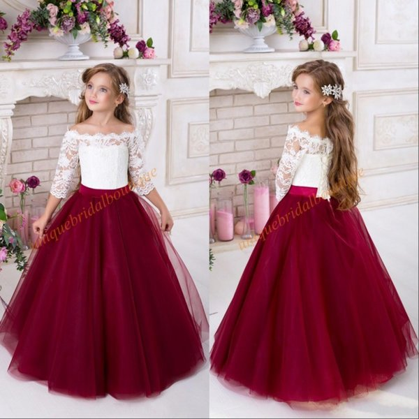 Burgundy Flower Girls Dresses for Weddings 2018 Off Shoulder 3/4 Long Sleeves Puffy Tulle Girls Party Pageant Dress