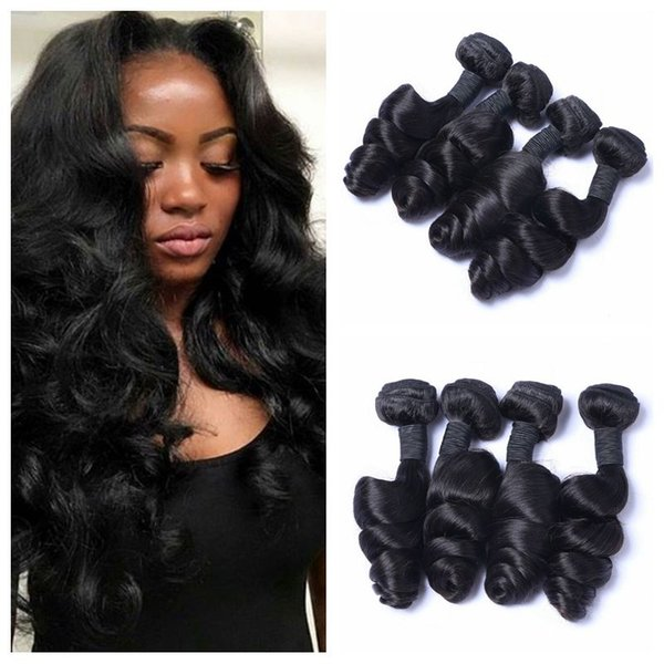 Brazilian loose wave hair weave 4pcs Unprocessed Wavy Hair Brazilian Human Hair Bundles 8-30inch Natural Black G-EASY