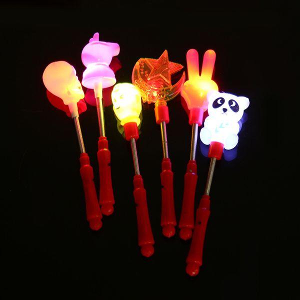 Spring Flash Sticks Halloween Pumpkin Skull Head Rabbit Plastic Rod Luminous LED Light Up Stick With Shaking 1 58zj B R