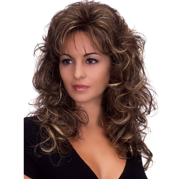 WoodFestival women long hair wigs heat resistant fiber synthetic wigs brown fluffy curly wig with bangs medium length high quality wigs