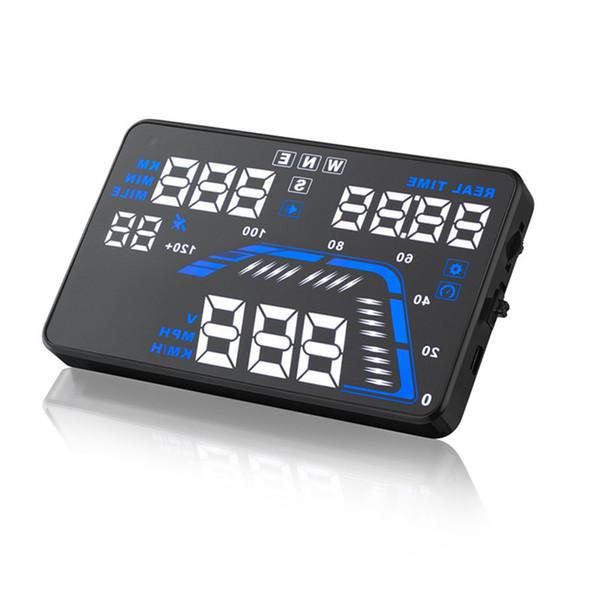5.5 pulgadas universal para coche GPS HUD Q7 Pantalla de visualización en el tablero de instrumentos Montado en el proyector Velocidad velocímetros de advertencia LCD OBD II