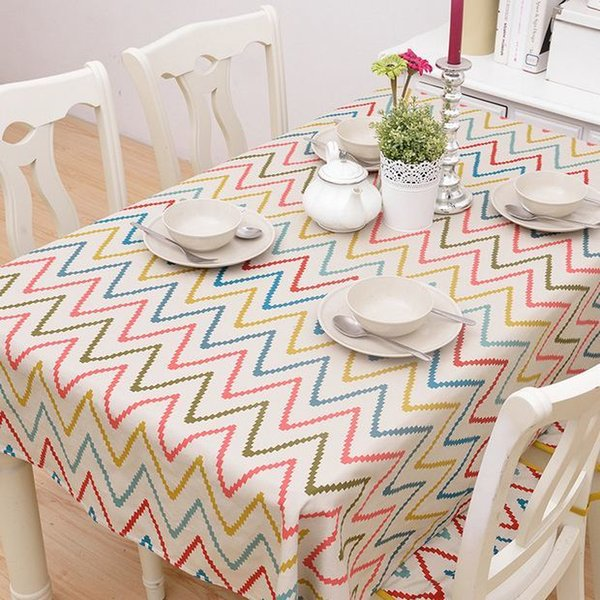 Striped Cotton Table Cloth Colorful Wave Printed Nappe Tablecloth Coffee Party Wedding Modern Table Cover Toalha