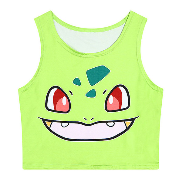 Poke Crop Top Women Camis Pikachu Charmander Squirtle Print tank tops Pocket Monster Colorful sleeveless Tee Vest 10 designs available
