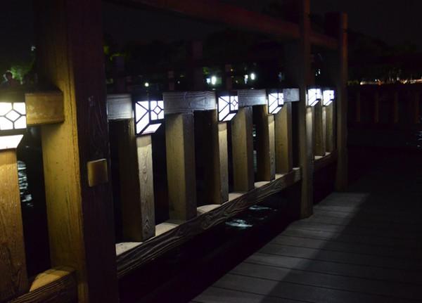 Açık Güneş Çit Lambası Su Geçirmez LED Duvar Lambaları Antient Çin Tarzı Bahçe Aydınlatma Avlu Çit Güneş Işıkları