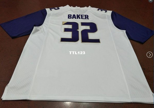Hombre # 32 Budda Baker negro blanco o morado Washington Huskies Alumni College Jersey o personalizada cualquier nombre o número jersey