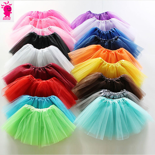 best selling 17 colors Top Quality candy color kids tutus skirt dance dresses soft tutu dress ballet skirt 3layers children clothes Free shipping E1237
