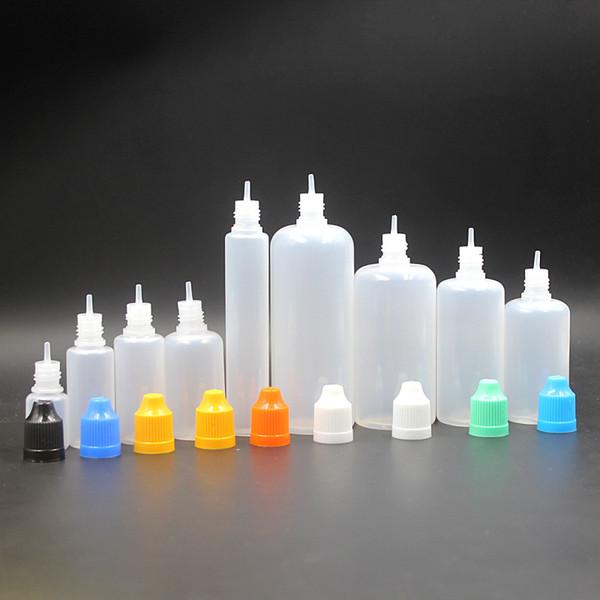 e cigs pe botella e-líquido e líquido botella 10ml 3ml 5ml 30ml 50ml e jugo botella vacía con tapa de seguridad a prueba de niños y gotero largo y fino FJ059
