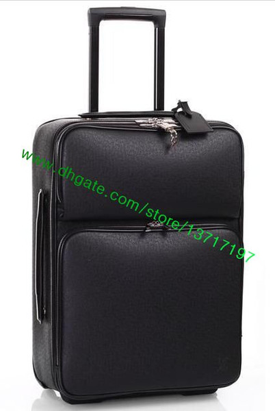Grade black plaid canva  coated real leather rolling luggage fa hion de igner darwbar travel  uitca e pega  e n21225 n41385