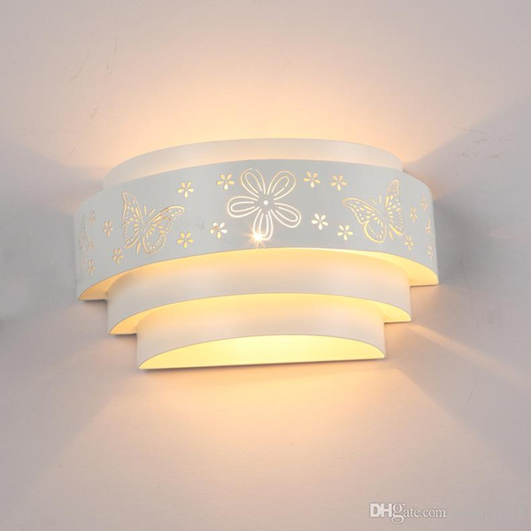 2016 New Fashion Modern Brief Butterfly Flower Wall Lights White Mirror Front Llight Iron Wall Lamp High Quality,fast shipping