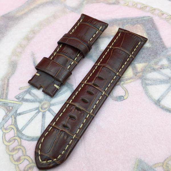 Cinturino a fascia in pelle di vitello marrone rosso serie 24mm 120mm / 75mm di alta qualità per orologio Pan erai UNMINOR