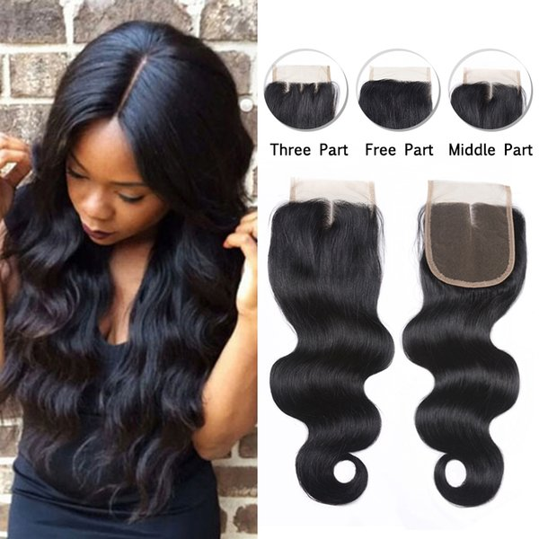 Mongolian Body Wave Human Hair Lace Closure Unprocessed 4X4 Top Lace Closure Mongolian Virgin Hair Natural Color For Black Women