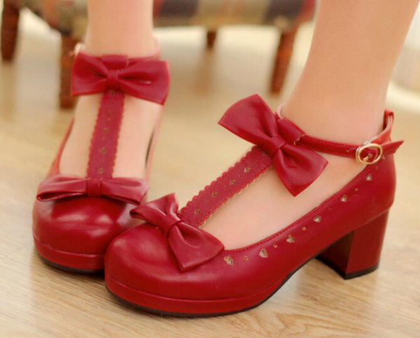 2016 hot new Sweet T Cutout Bow Strap Round Toe Casual Thick Heel Single Shoes.Cosplay and Lolita Shoes for Woman and Girl
