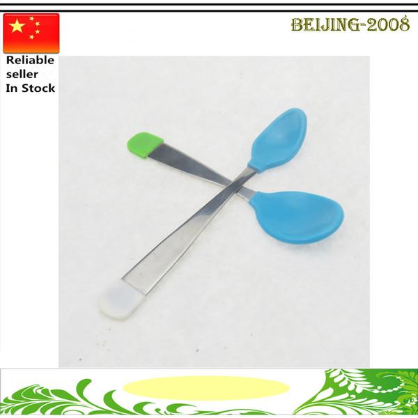 High Quality Baby Spoon infant feeding silicone Baby Fork Lot Heat Sensing Thermal Feeding Supplies Spoon Kids Tableware 010263