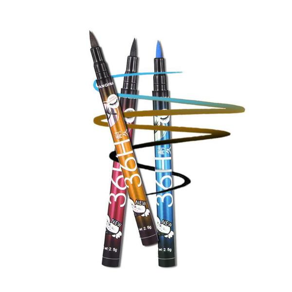 top popular YANQINA 36H Makeup Eyeliner Pencil Purple Blue Black Brown 4 Colors Waterproof Eyeliner Pen Liquid Eye liner Cosmetics 12pcs each set 2021