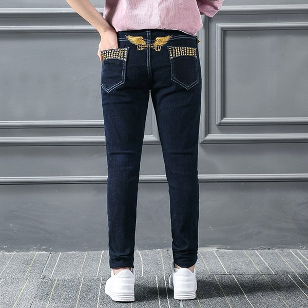 Fashion new 2017 brand jeans robins womens jeans gold rivet wings with key robin lady slim small legs pants plus size 27-34