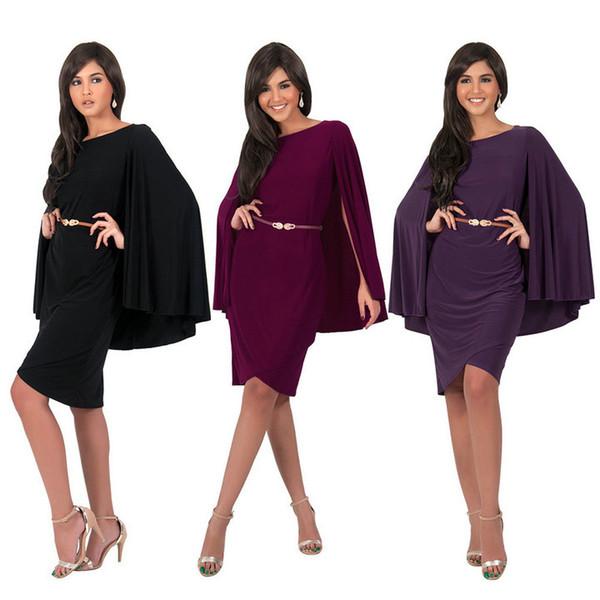 Col rond femmes robes de soirée sans manches en mousseline de soie robe avec cape robes de soirée genou longueur robe de soirée formelle type cape jupe