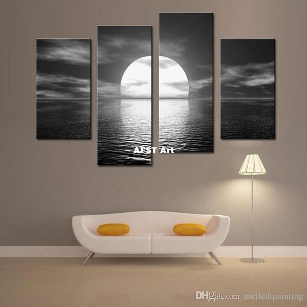 4 Bildkombination Euro Style Über dem Meer glänzt der Mond Helle Meereslandschaft Ölgemälde Druck auf Leinwand Peaceful Art Wall Canvas