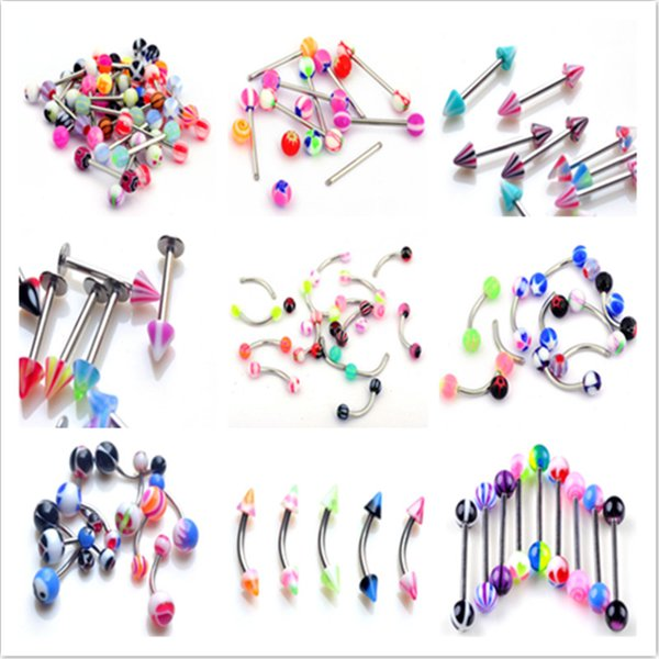 Wholesale Punk Women Mix 180PCS Lots Acrylic Stainless Steel Eyebrow Navel Belly Lip Tongue Bar Rings Nose Body Piercing Jewelry