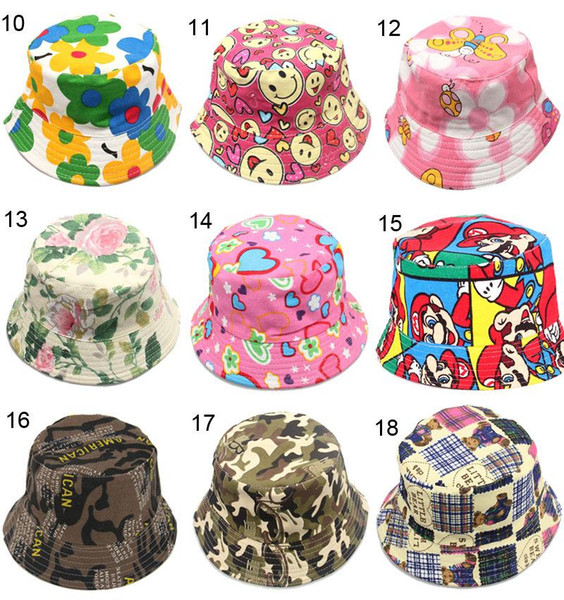 30 style Cartoon printed picture kid girl cap lovely sun hat Colorful Baby Bucket hats canvas children beanie emoji cap hat Accessories