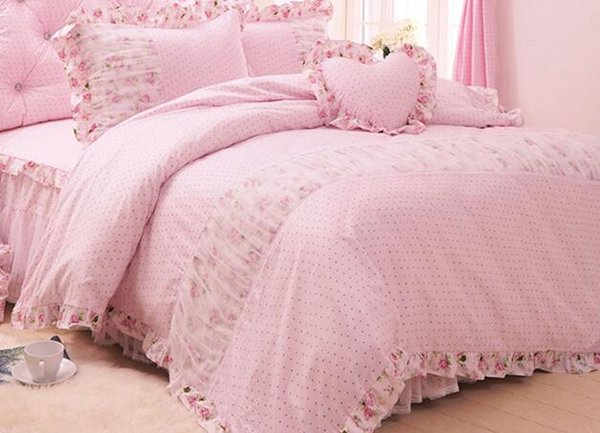 Korean princess Good dream again and again pastoral lace bedspread bedding sets 4pcs, pillowcase, bed skirt Duvet Cover