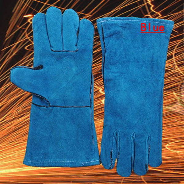 7 Colors Newest Stretch Long Type Antiwear Cow Leather Safety Protective Welding Work Gloves for Building Site Welder Soldering