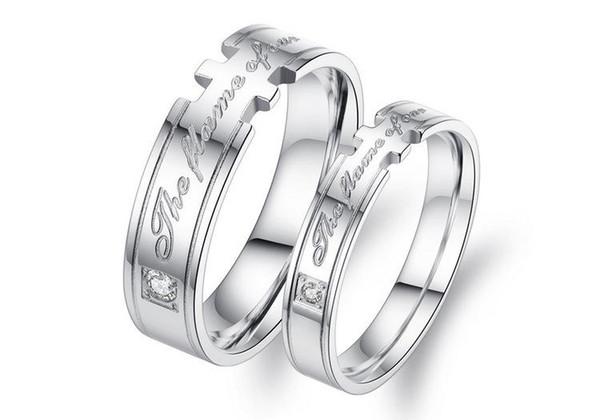 Wholsale Seu ans Seu Amor De Aço Inoxidável Palavras Gravado Conjunto de Correspondência anel Anel de Promessa Dos Namorados Amor Casais Do Casamento Banda de Noivado