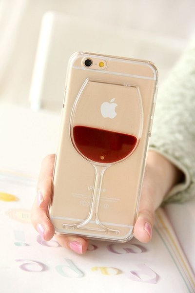 50Pcs 3D Red Wine Cup Phone cases soft TPU cocktail Liquid Transparent protective cell phone cover free shipping for iphone X 8 7 samsung