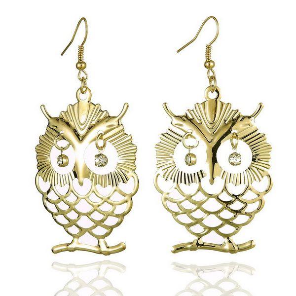 Fashion Owl Stud Earrings Fish Hooks Earings Dangles Chandelier Crystal 18K Gold Charm Stud Earring Womens Jewelry Long Eardrops Accessories