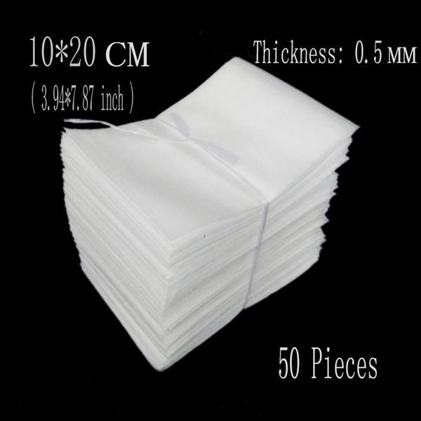 Al por mayor-10 * 20 cm (3.94 * 7.87 pulgadas) 0.5mm 50Pcs EPE Embalaje de espuma Bolsas de protección Embalaje Envolver Eva Foam Sheet Board Aislamiento Verpakking