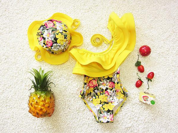 Einteiliger Badeanzugblumenschwimmenanzug für Kindermädchen-Kleinkindmädchen-Badeanzüge arbeiten Kinderbadebekleidung mit Schwimmenkappe um