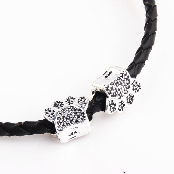 100 teile / los Metalllegierung Bärentatze Form Perlen Hund Pfoten Charme für Pandora Armband Frauen DIY Schmuck Großhandel