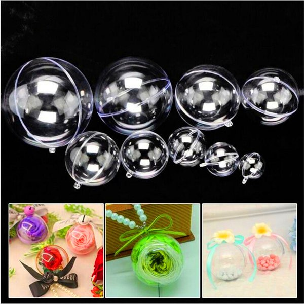 top popular Christmas Decorations Openable Transparent Plastic Christmas Ball Baubles 4cm To 14.6cm Christmas Tree Ornament Party Wedding Clear Balls 2019