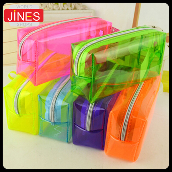 top popular Wholesale-High quality transparent Plastic Pen Case Pencil Bag Holder Storage Pouch Cosmetic Makeup Bag Pouch Fashion Christmas Gift 2021