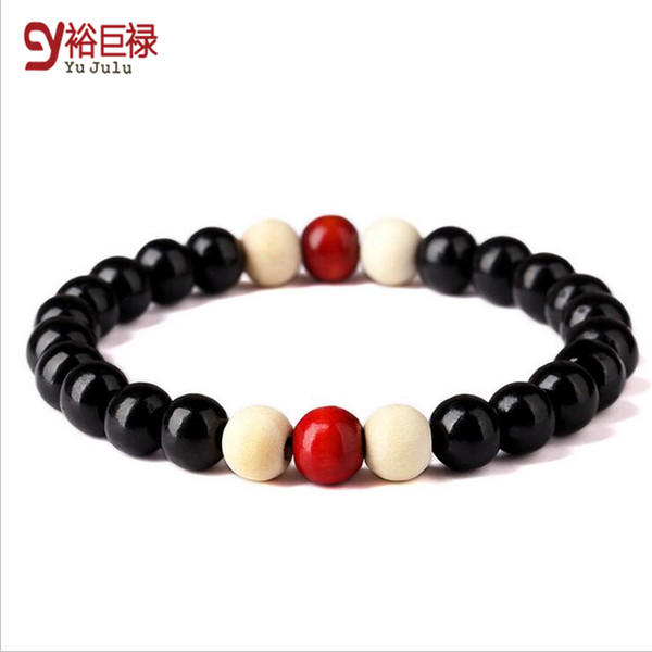 2016 New Hip Hop 8mm Black Wood Beads Bracelet With Elastic Rope Wooden Bead Bracelet For Women Unisex Men Hip Hop Jewelry