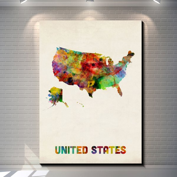 Vintage Watercolor United States map Pictures Painting Canvas Poster Painting Print Hotel Bar Garage Living Room Wall Home Art Decor Poster