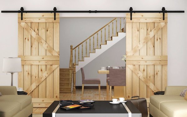KIN MADE Heavy duty Double Sliding Barn Door modern wooden sliding barn door hardware