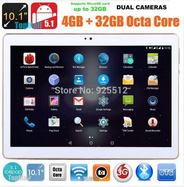 10.1 inch 3G tablet eight core ips1280 x 800 4G ROM memory 32G Android 5.1 phablet Bluetooth GPS wireless FM De electronic game 10 tabletas