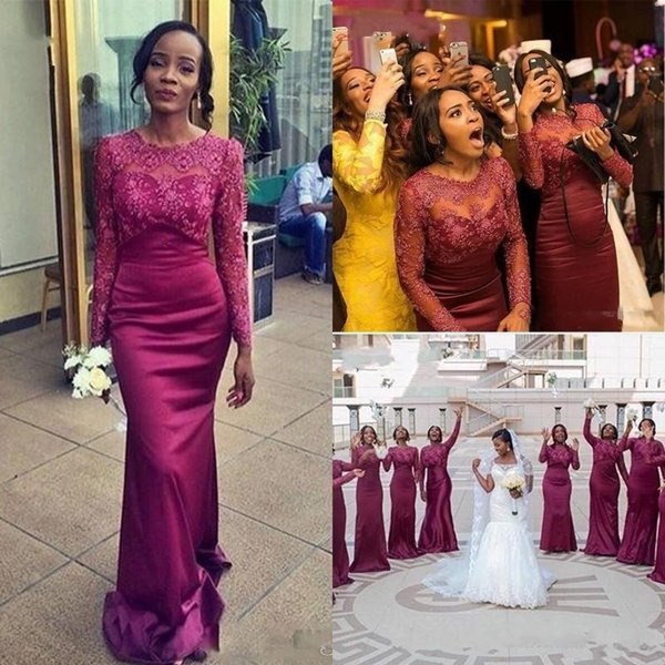 Plum Mermaid Lace Bridesmaid Dresses 2017 Long Sleeves South African Sheer Crew Neck Prom Evening Gowns Plus Size Maid of Honor Dress