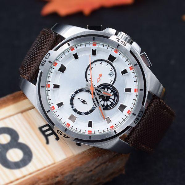 Nuevo montre de luxe Hombres cronógrafo cuarzo multifunción Relojes deportivos Seis pines 24 horas de acero shell cinturón de nylon Pin hebilla Envío gratis