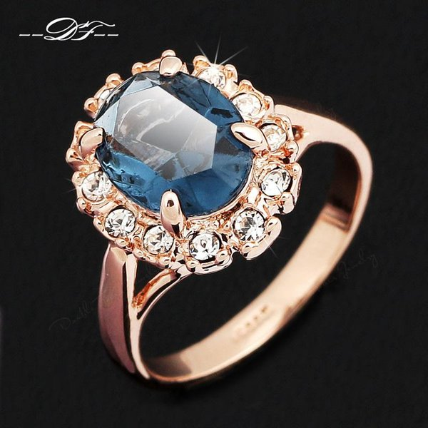 Blue Imitation Crystal Inlaid CZ Diamond Wedding Ring Wholesale 18K Gold Plated Fashion Jewelry For Women Gifts anel aneis joias DFR189