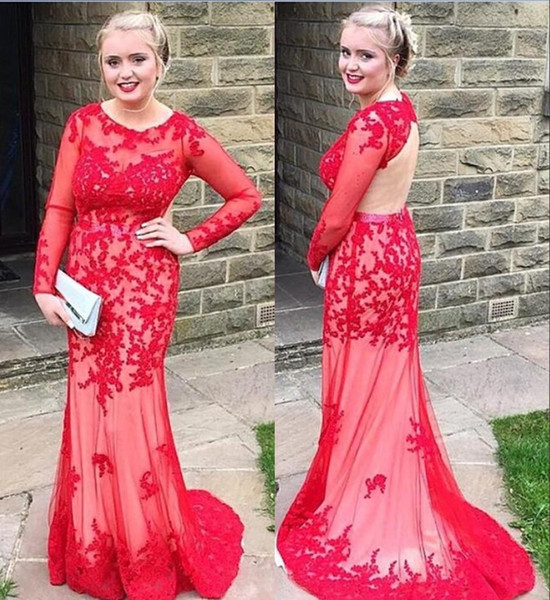 Fashion 2017 Long Sleeve Red Evening Dresses Backless Jewel Neck Lace Floor Length Sheath Party Gowns Custom Made