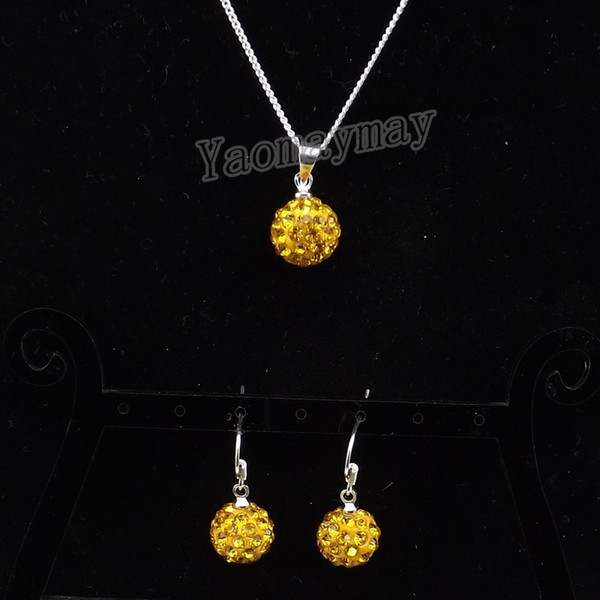 High Quality Rhinestone Jewellery Set Gold Color Disco Ball Pendant Earrings And Necklace For Women 10 Sets Wholesale