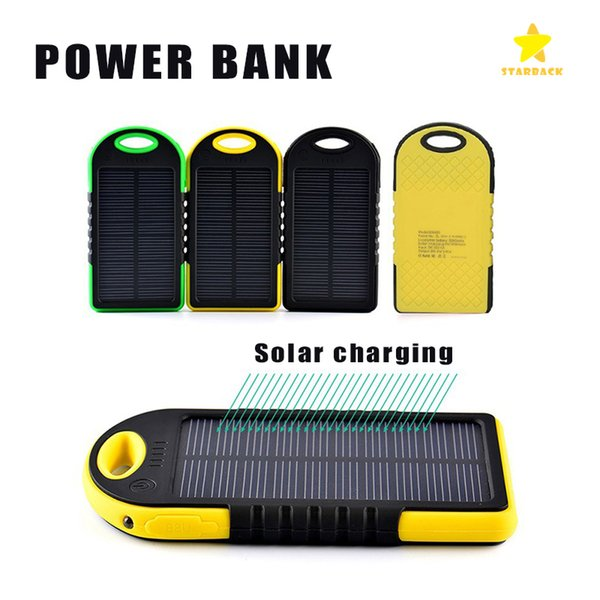4000mAh Solar Power Bank External Battery Waterproof Shockproof Portable Phone Charger for iPhone 7 Plus Samsung with Retail Package