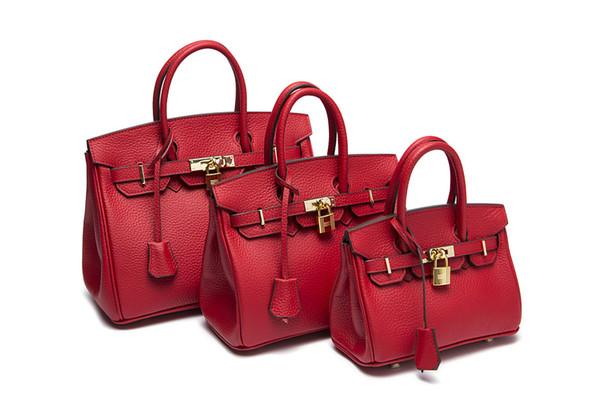 Top fashion vermelho bolsa de couro cheia bolsa de ombro tote menina pura mulher 2018