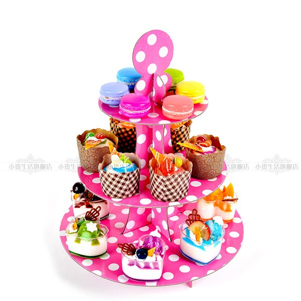 2018 New Three Layers Dots Cardboard Cake Stand Wedding Party